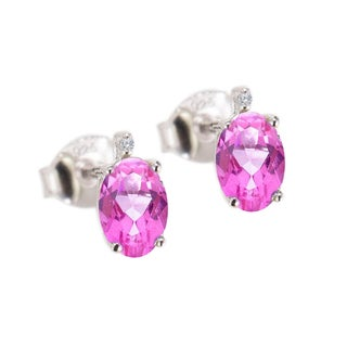 Sterling Silver 1.15ct. Oval Pink Topaz and White Diamond Earring (H-I, I2-I3)
