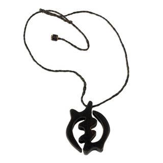 Handmade Ebony Leather 'God-fearing Faith' Necklace (Ghana)