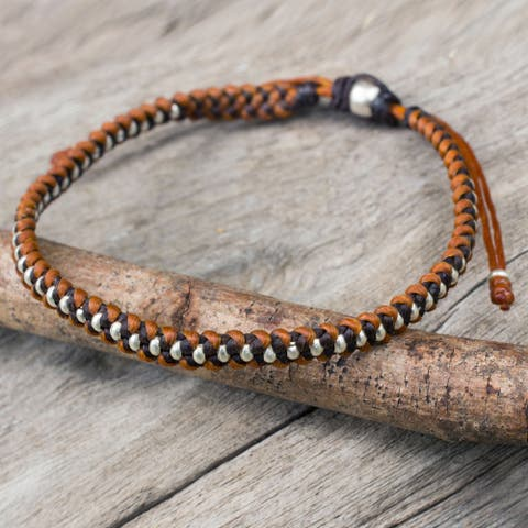 """Handcrafted Silver Accent 'Brown Tan Progression' Bracelet (Thailand) - 7'6"""" x 9'6"""""""