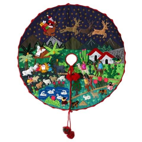 Handmade Applique Nativity Scene Christmas Tree Skirt (Peru)