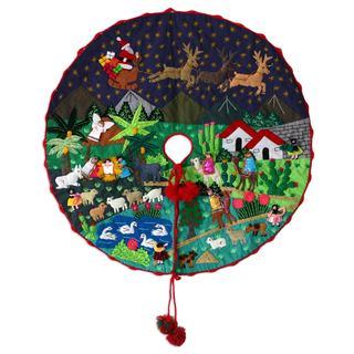 Handcrafted Applique 'Nativity Scene' Christmas Tree Skirt (Peru)