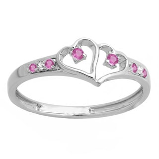 Sterling Silver 1/6ct TW Pink Sapphire and White Diamond Promise Love Engagement Ring (I-J, I1-I2)