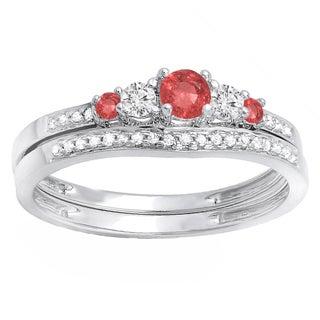 14k White Gold 1/2ct TW Round Ruby and Diamond 5-stone Bridal Band Set (H-I, I1-I2)