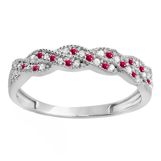 14k White Gold 1/4ct TW Round Ruby and White Diamond Wedding Band (H-I, I1-I2)
