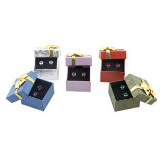 Sterling Silver Gemstones Stud Earrings Set