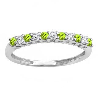 10k Gold 1/3ct TW Round Peridot and White Diamond Anniversary Wedding Band (I-J, I2-I3)