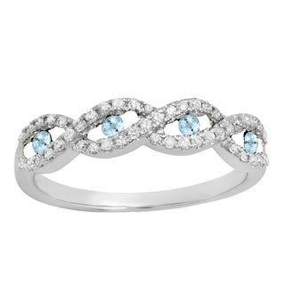 10k Gold 1/4ct TW Aquamarine and Diamond Bridal Anniversary Band Swirl Ring (I-J, I2-I3)