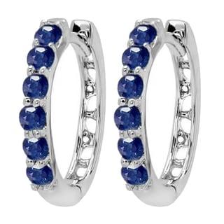 18k White Gold 1/2ct TW Round Blue Sapphire Hoop Earrings
