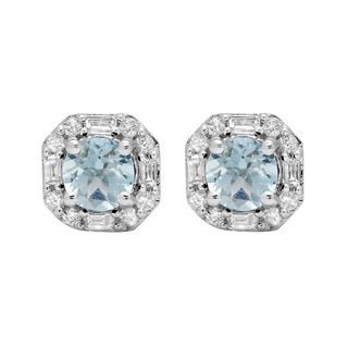 10k White Gold 1 3/8ct TW Round Aquamarine and Diamond Halo Stud Earrings (I-J, I1-I2)