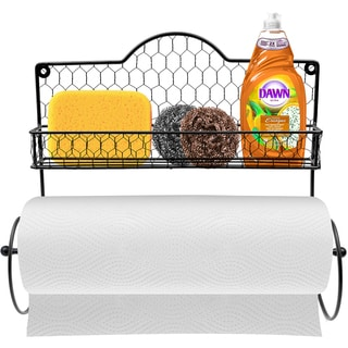 Sorbus Black Plastic Paper Towel Holder, Spice Rack and Multipurpose Shelf