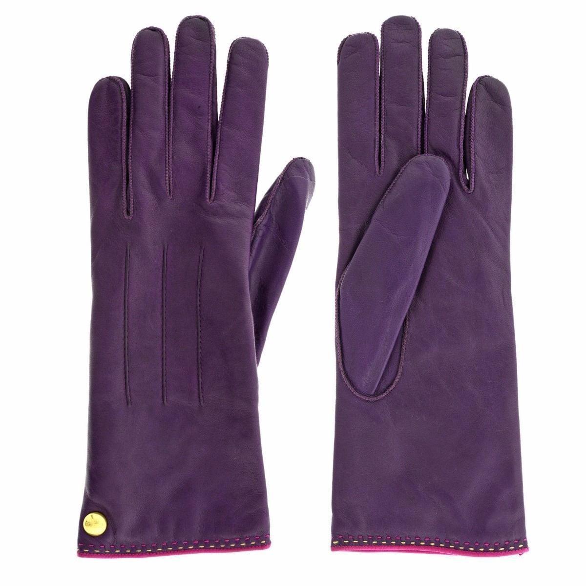 Coach Plum Leather Logo Gloves (S), Women's, Pink