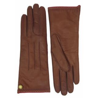 Coach Brown Leather Cashmere-lined Gloves