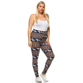 White Mark Women's Plus-size Printed Leggings