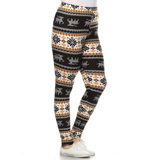 White Mark Women's Multicolor Polyester and Spandex Plus-size Printed Leggings