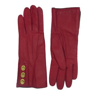 Coach Cherry Red Leather Turn-lock Gloves