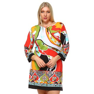 White Mark Women's Plus Size 'Abstract Wave' Spandex, Polyester Bell Sleeve Dress
