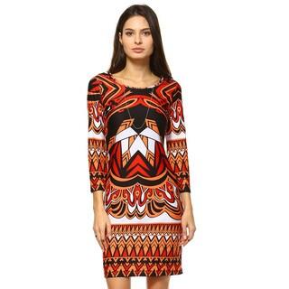 White Mark Women's Revolution Printed Polyester/Spandex Bell Sleeve Dress