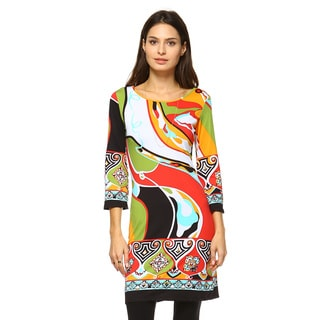 White Mark Women's 'Abstract Wave' Polyester and Spandex Printed Bell-sleeved Dress