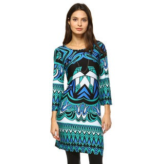 White Mark Women's 'Revolution' Blue and Green Polyester and Spandex Printed Scoop-neck Bell-sleeve Knee-length Shift Dress
