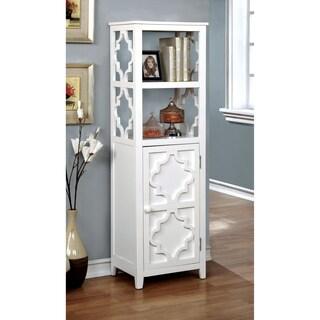 Furniture of America Mersela Contemporary White Quatrefoil Display Cabinet