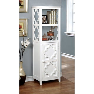 Furniture of America Mersela Contemporary White Quatrefoil Display Cabinet