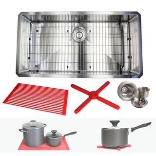 Ariel 36-inch Stainless Steel Single Bowl 15mm Radius Undermount Kitchen Sink with Accessories