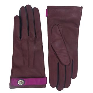 Coach Purple Colorblock Leather Gloves