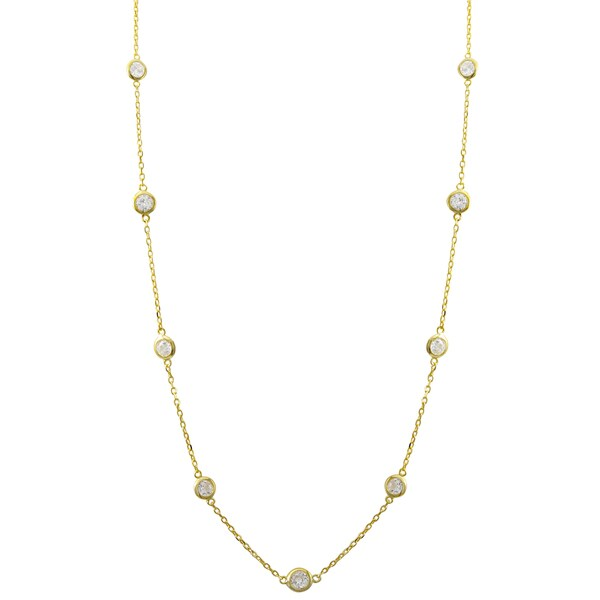 """Luxiro Sterling Silver Cubic Zirconia Station Necklace, 36"""". Opens flyout."""