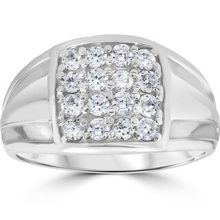 10k White Gold 1 ct TDW Diamond Mens Wedding Anniversary Ring