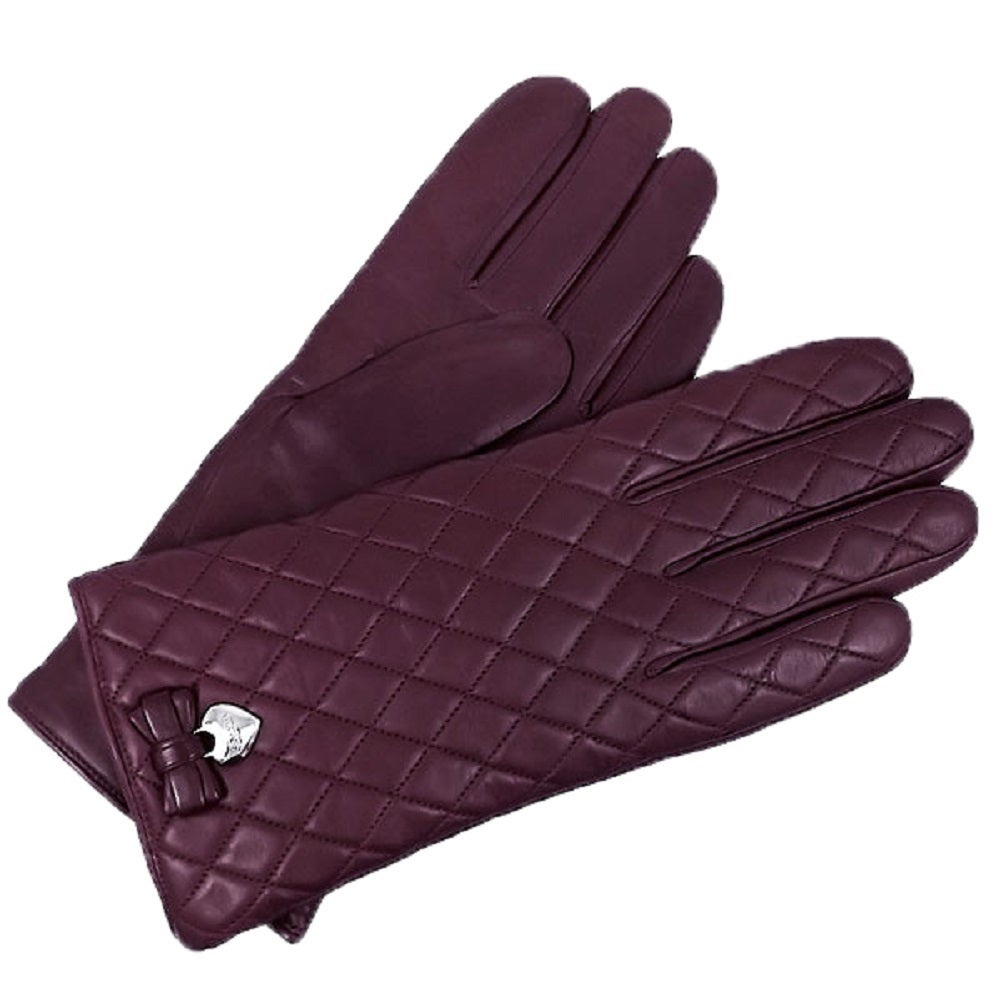 Coach Women's Plum Quilted Leather Gloves (6.5), Size: Sm...