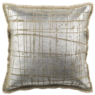 Safavieh 20-inch Metallic Grid Silvery-Moss Decorative Pillow