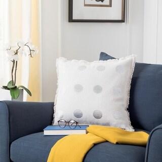 Safavieh 20-inch Metallic Dots White Decorative Pillow