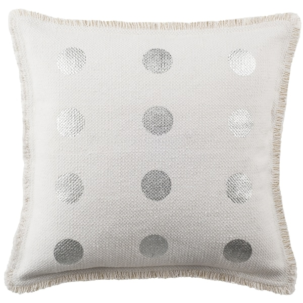 Safavieh 20-inch Metallic Dots White Decorative Pillow