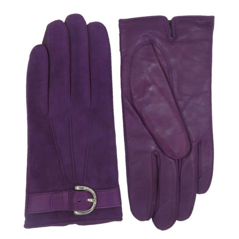 Coach Purple Suede Leather Campbell Buckle Gloves