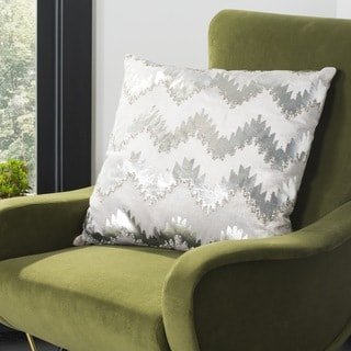 Safavieh 22-inch Sophia Flamestitch Silver Decorative Pillow