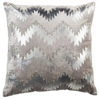 Safavieh 18-inch Sophia Flamestitch Silver Decorative Pillow