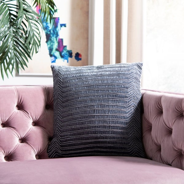 Safavieh 18-inch Pristine Double Stripe Dark Blue Decorative Pillow