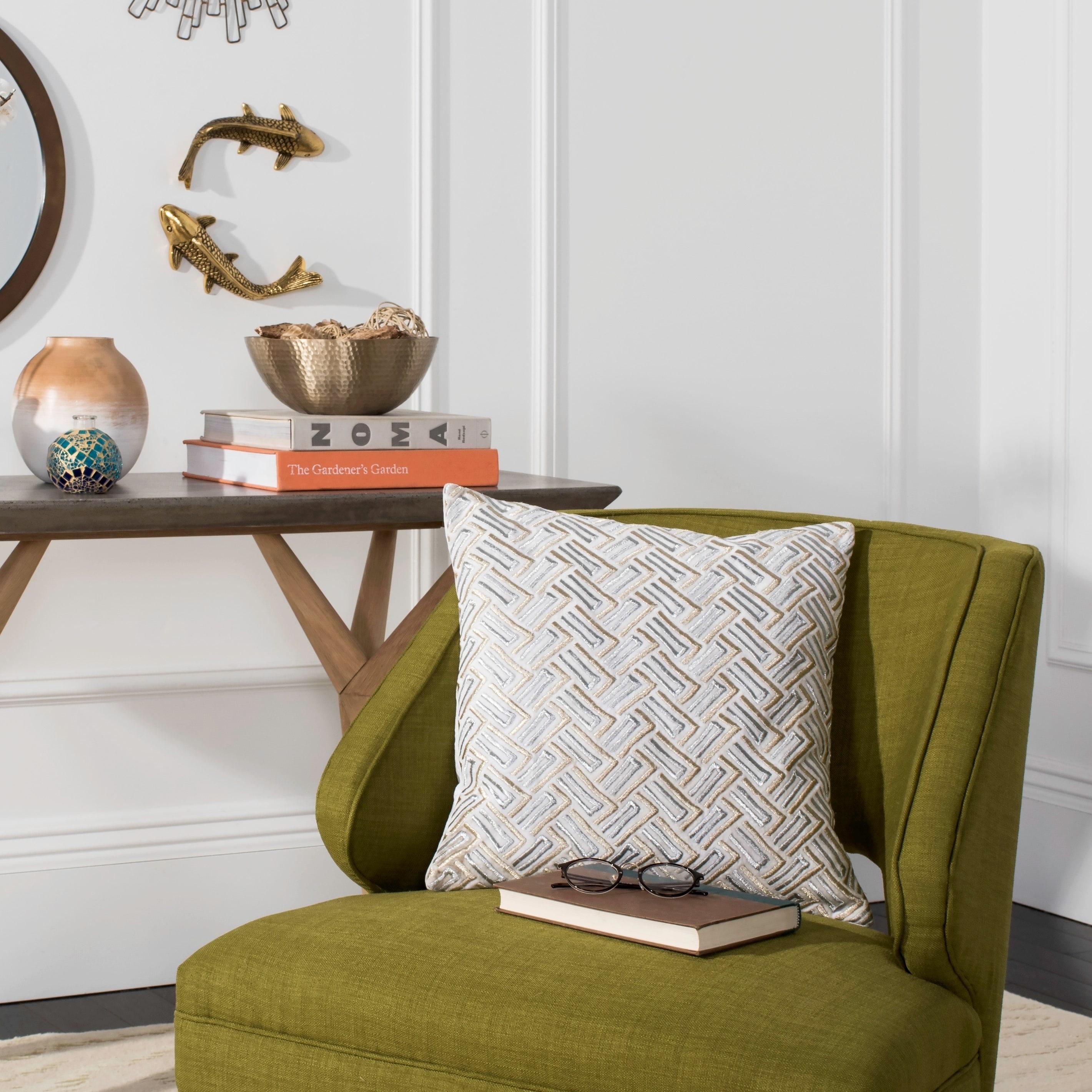 Safavieh 20 Inch Metallic Grey White Gold Decorative Pillow Overstock 13784472