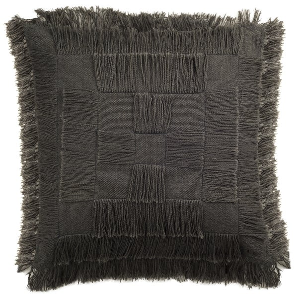 Decorative Pillows With Fringe Part - 29: Safavieh 20-inch Square Fringe Wood Decorative Pillow