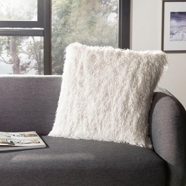 Safavieh 20-inch Shag Modish Metallic Snow Decorative Pillow