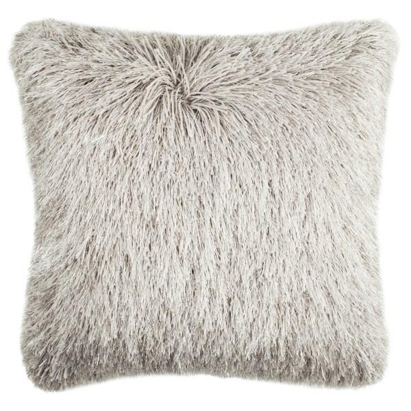 Safavieh 20-inch Shag Modish Metallic Metalic Silver Decorative Pillow