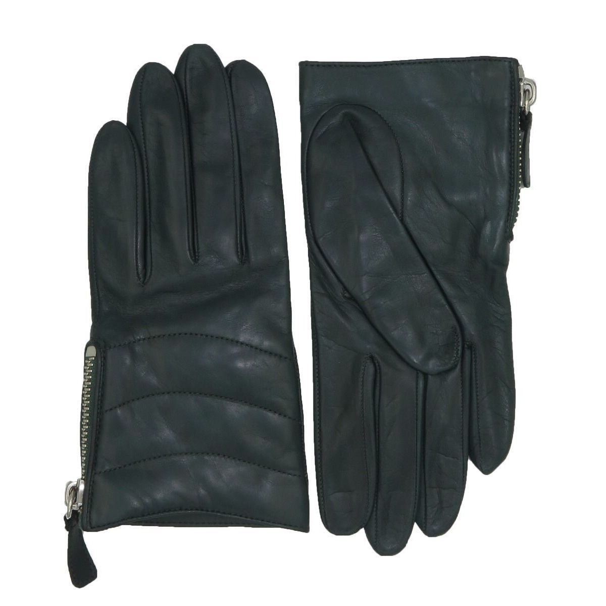 Coach Green Leather Quilted Zippered Gloves (7.5), Women'...
