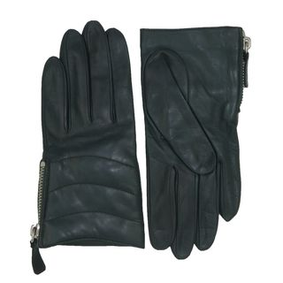 Coach Green Leather Quilted Zippered Gloves