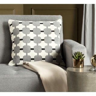 Safavieh 20-inch Retro Square Light Grey / Dark Grey Decorative Pillow