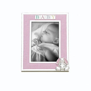 Reed Barton Pink Fabric Gingham Bunny 4-inch x 6-inch Frame