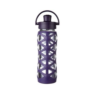 Lifefactory Purple Silicone and Glass Bottle With Active Flip Cap