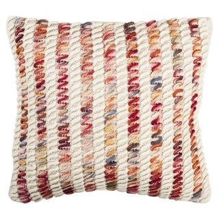 Safavieh 20-inch Candy Cane Looped Candy Red Decorative Pillow