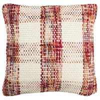 Safavieh 20-inch Woven Plaid Christmas Red Decorative Pillow