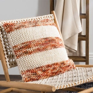 Safavieh 20-inch Striped Looped Ginger Orange Decorative Pillow