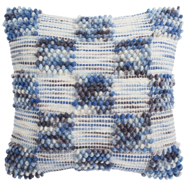 Safavieh 20-inch Square Spaced Looped Azure Blue Decorative Pillow